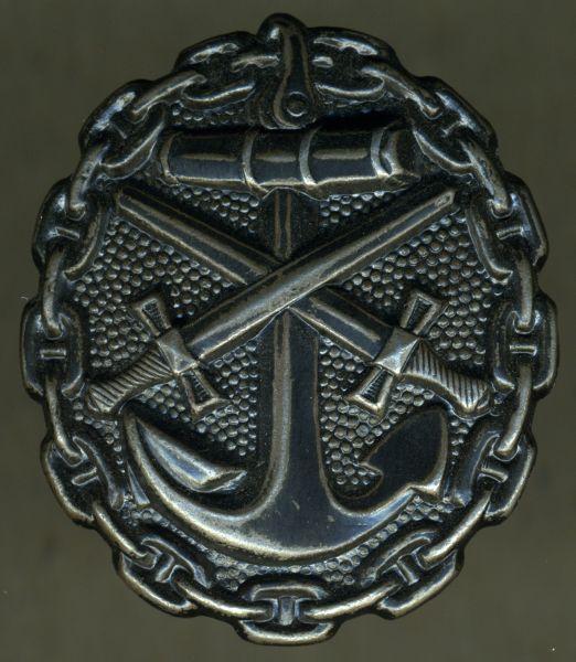 Verwundetenabzeichen 1918 für Marineangehörige (!) in Schwarz