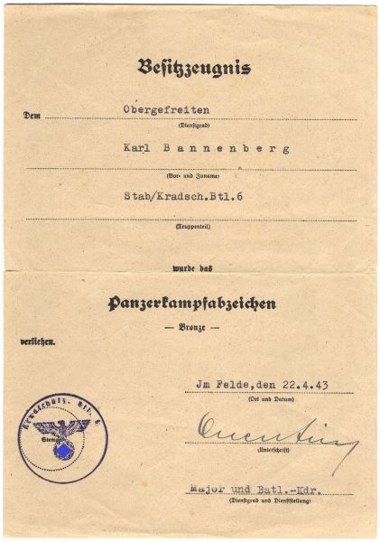 Urkundengruppe des Obergefreiten Karl Bannenberg / Kradschützen-Btl. 6 - VWA-Doppelverleihung (!)
