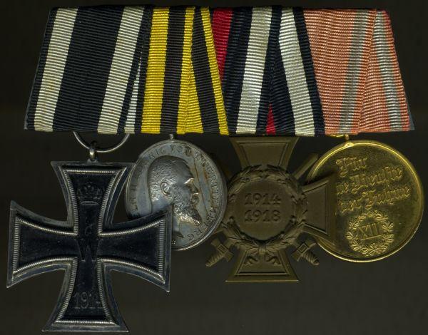 4er Ordensschnalle eines württembergischen Weltkriegsveteranen