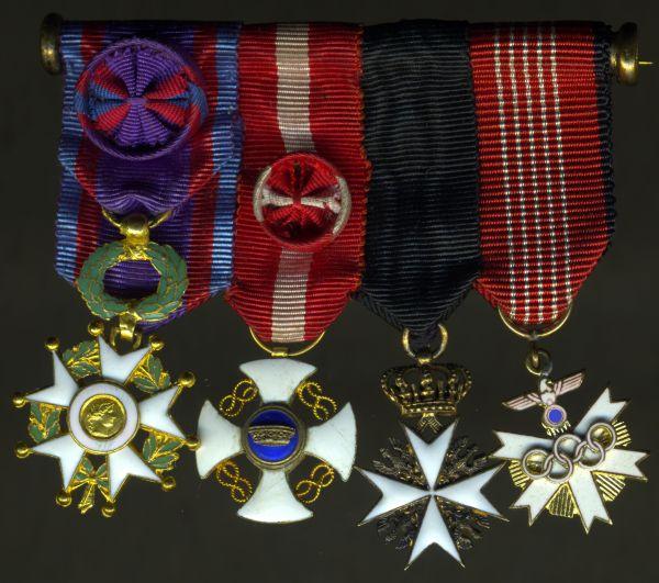 4er Miniatur-Ordensschnalle eines ausländischen Johanniter-Ritters & Olympia-1936-Beteiligten