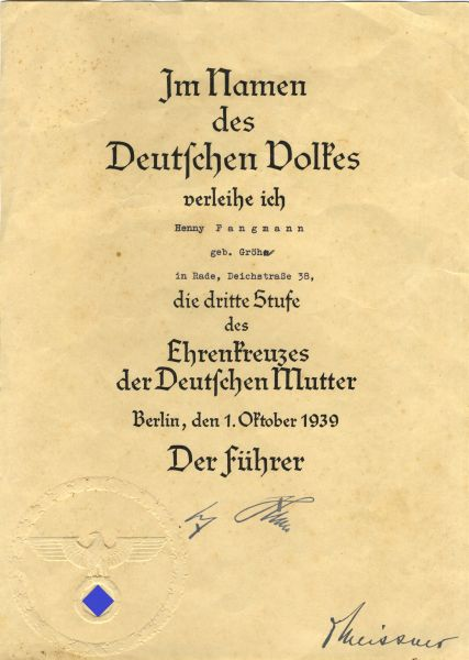 Verleihungsurkunde zum Mutterkreuz in Bronze der Henny Fangmann / Rade