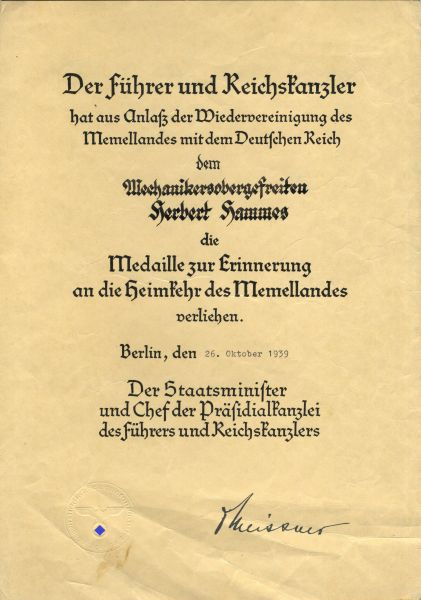 Verleihungsurkunde zur Anschlussmedaille Memelland des Mechanikersobergefreiten Herbert Hammes