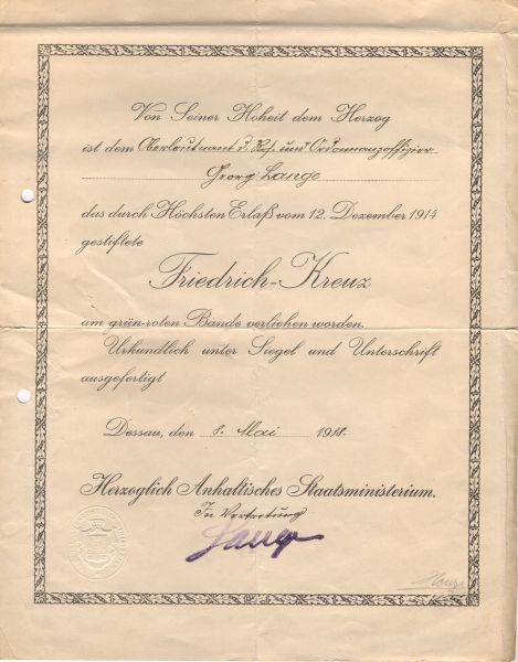 Verleihungsurkunde zum Anhalt, Friedrich-Kreuz