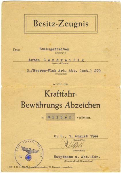 Urkundengruppe des Stabsgefreiten Anton Gendreizig / Heeres-Flak-Art.-Abt. 279 (mot.)