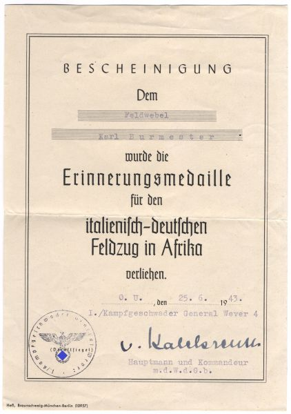 "Dokumentengruppe des Oberfeldwebels Karl Burmester / Kampfgeschwader 4 ""General Wever"""