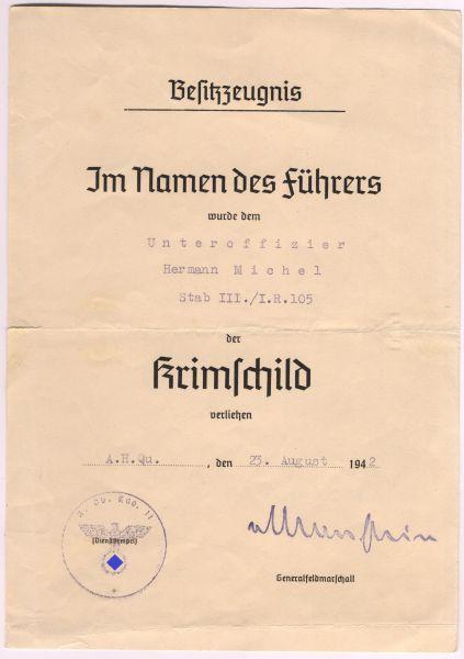 Verleihungsurkunde zum Krimschild des Unteroffiziers Michel / Inf.-Rgt. 105