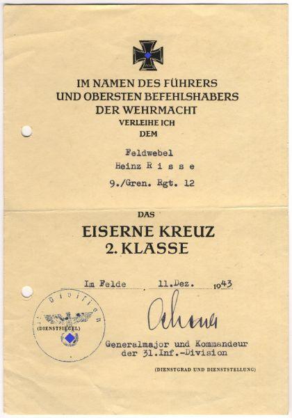 Verleihungsurkunde zum Eisernen Kreuz 2. Klasse 1939 des Feldwebels Risse / Gren.-Rgt. 12