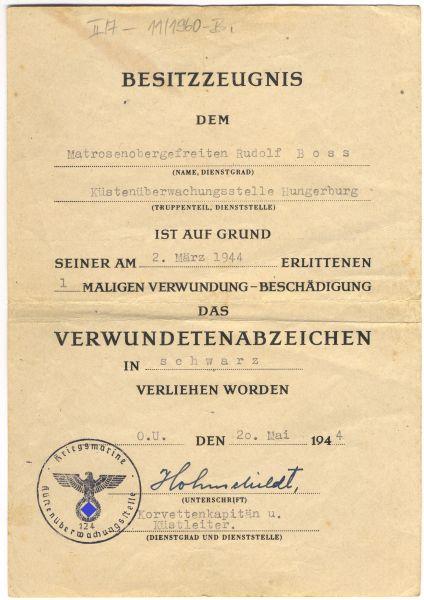 Urkundenpaar des Matrosenobergefreiten Rudolf Boss / Küstenüberwachungsstelle Hungerburg