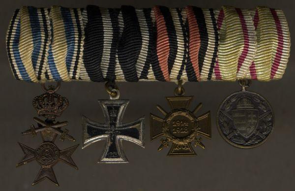 4er Miniatur-Ordensschnalle eines bayerischen Weltkriegsveteranen