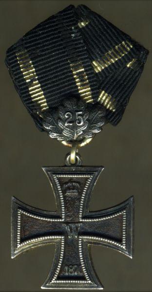 Miniatur - Eisernes Kreuz 2. Klasse 1870 mit 25 J.-Eichenlaub - dreiteilig (!) - Godet / Berlin