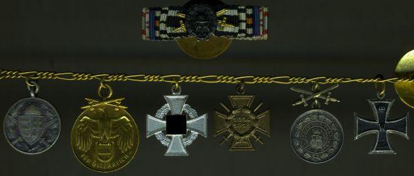 Miniaturenkettchen + Knopflochdekoration eines Weltkriegsveteranen mit Hohenzollern - Godet / Berlin