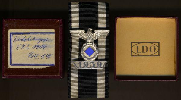 Spange zum Eisernen Kreuz 2. Klasse 1939 mit LDO-Schachtel - Wilhelm Deumer / Lüdenscheid