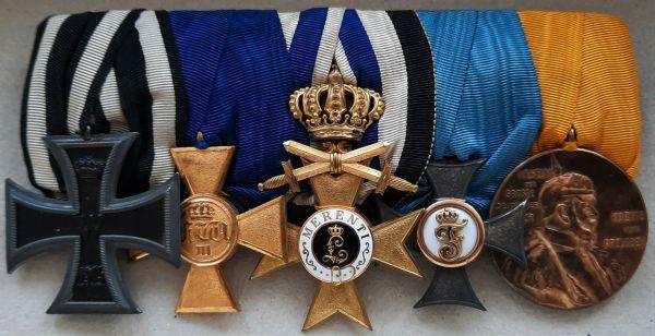 5er Ordensschnalle mit Bayern, Militär-Verdienstkreuz 1. Klasse mit Krone & Schwertern