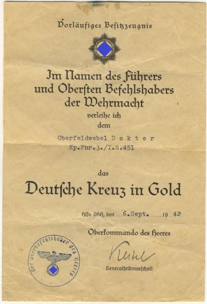 Vorläufiges Besitzzeugnis zum Deutschen Kreuz in Gold des Oberfeldwebels Dokter / Inf.-Rgt. 451