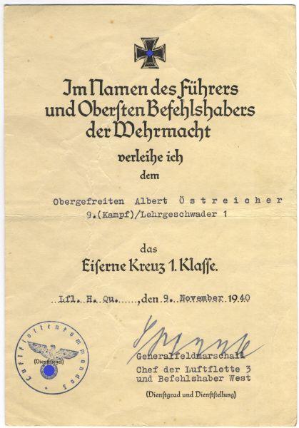 Urkundengruppe des Feldwebels Albert Östreicher / Lehrgeschwader 1