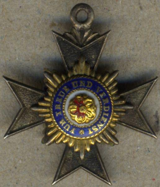 """Miniatur - Lippe-Detmold, Hausorden Ehrenkreuz 3. Klasse / 4. Klasse (Abteilung A - Chiffre """"LA"""")"""