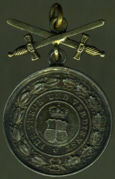 Miniatur - Hohenzollern, Silberne Ehrenmedaille mit Schwertern