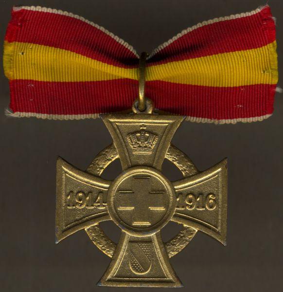 Baden, Kreuz für freiwillige Kriegshilfe mit Eichenkranz