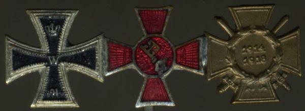 3er Miniaturenspange mit Hanseatenkreuz Bremen