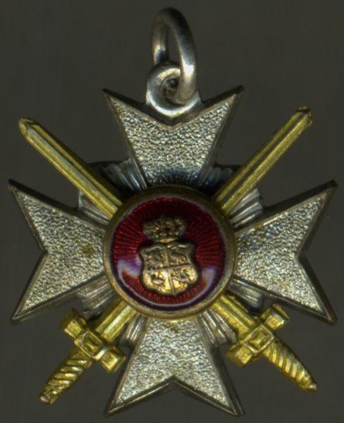 Miniatur - Reuß, Fürstlich Reußisches Ehrenkreuz 3. Klasse mit Schwertern