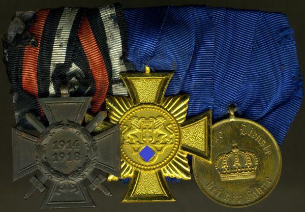 3er Ordensschnalle mit Freie Stadt Danzig, Polizei-Dienstauszeichnung 25 Jahre