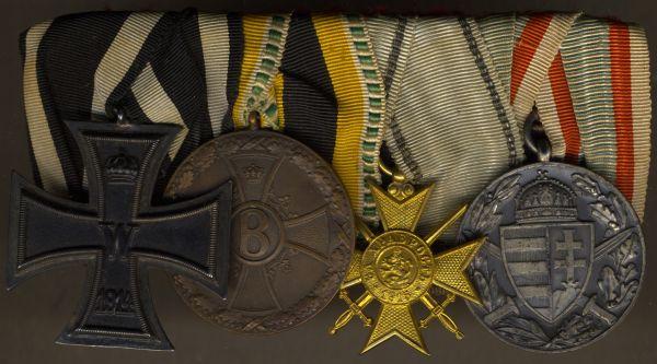 4er Ordensschnalle eines Weltkriegsveteranen mit Sachsen-Meiningen & Bulgarien