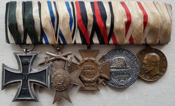 5er Ordensschnalle eines bayerischen Weltkriegsveteranen mit Kronprinz-Rupprecht-Medaille in Bronze