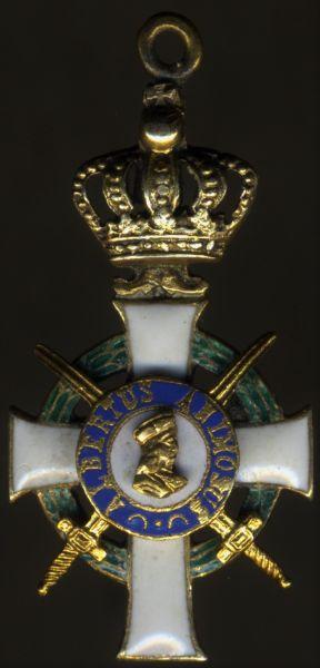 Miniatur - Sachsen, Albrechtsorden Offizierkreuz mit Schwertern