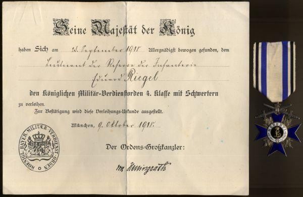 Bayern, Militär-Verdienstorden 4. Klasse mit Schwertern + Verleihungsurkunde des Leutnants Riegel
