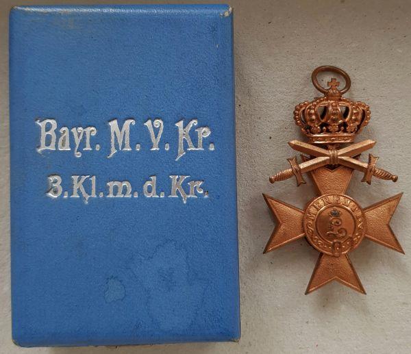 Bayern, Militär-Verdienstkreuz 3. Klasse mit Krone & Schwertern + Etui - Chr. Lauer / Nürnberg