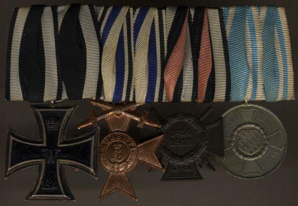 4er Ordensschnalle eines bayerischen Weltkriegsveteranen