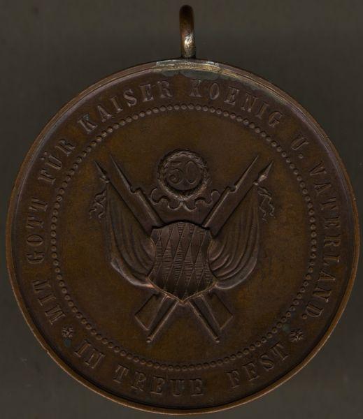 Fahnenmedaille des Veteranen- & Krieger-Vereins Traunstein zum 50. Jubiläum 1885