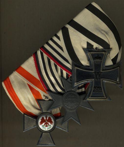3er Frack-Ordensschnalle eines Preußen mit Nichtkämpfer-EK2 1914