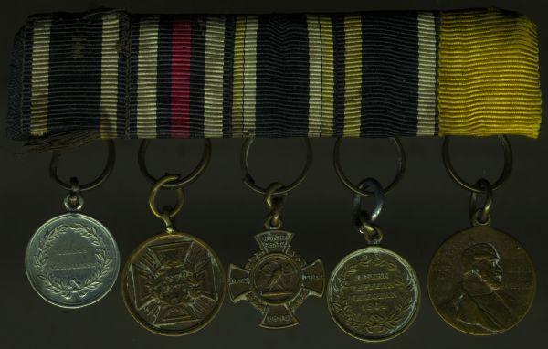 5er Miniatur-Ordensschnalle Preußen 1864, 1866 & 1870/71