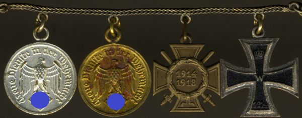 4er Miniaturenkettchen mit Wehrmacht-Dienstauszeichnung 4 & 12 Jahre