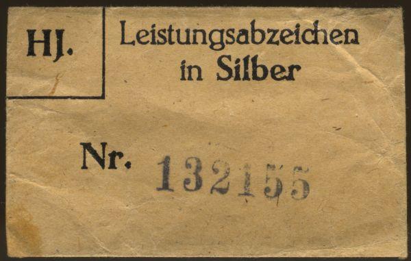 Tüte zum HJ-Leistungsabzeichen in Silber - Matrikelnr.: 132155