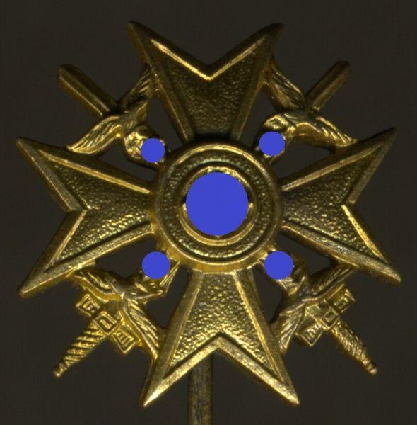 Miniatur - Spanienkreuz in Gold mit Schwertern - Wilhelm Deumer / Lüdenscheid
