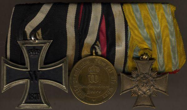 3er Ordensschnalle eines sächsischen 1866- & 1870/71-Veteranen