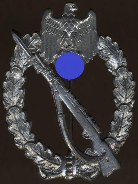 """Infanterie-Sturmabzeichen in Silber - Alois Rettenmeyer / Schwäb. Gmünd - """"broken stem"""""""