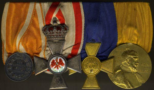 4er Ordensschnalle eines preußischen Lebensretters & Offiziers