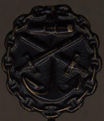 Miniatur - Verwundetenabzeichen 1918 für Marineangehörige in Schwarz