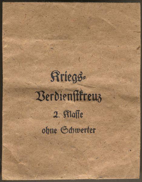 Tüte zum Kriegsverdienstkreuz 2. Klasse 1939 ohne Schwerter - Wilhelm Deumer / Lüdenscheid