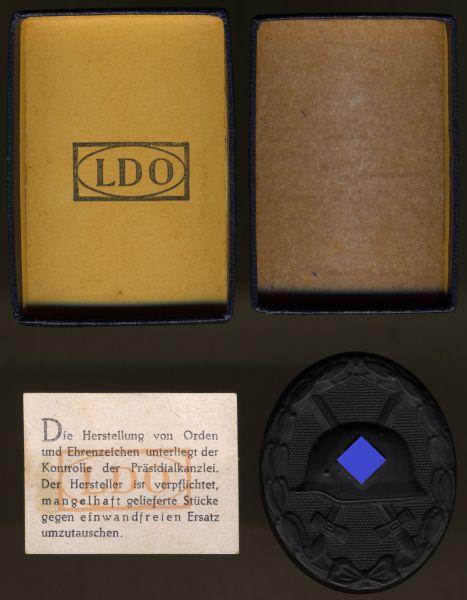 """Verwundetenabzeichen 1939 in Schwarz mit LDO-Schachtel + """"Garantiezettel"""""""