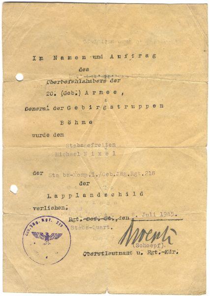 Verleihungsurkunde zum Lapplandschild des Stabsgefreiten Nixel / Geb.-Jäg.-Rgt. 218 - 08.07.1945 (!)