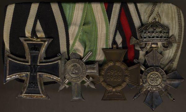 4er Ordensschnalle eines Welrkriegsteilnehmers mit Sachsen & Bulgarien