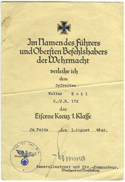Urkundenguppe des Unteroffiziers Walter Keil / Inf.- / Gren.-Regiment 172