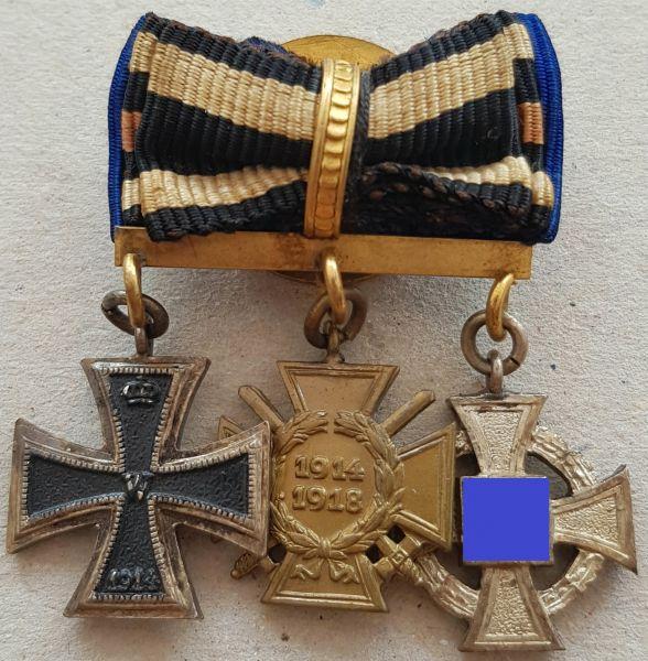 3er Knopflochdekoration eines Weltkriegsveteranen & Staatsdieners