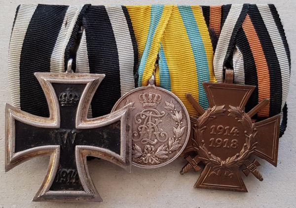 3er Ordensschnalle eines Weltkriegsveteranen mit Sachsen