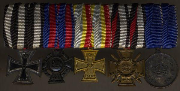 5er Miniatur-Ordensschnalle eines Weltkriegsveteranen mit Preußen, Mecklenburg & Oldenburg