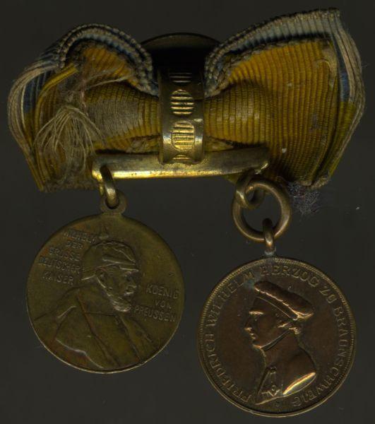 """2er Knopflochdekoration mit Braunschweig, """"Peninsula-Medaille"""""""